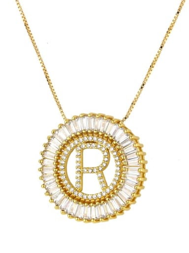 Brass Gold Plated Cubic Zirconia White Letter Dainty Initials Necklace