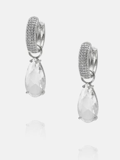 Platinum White Brass Cubic Zirconia Water Drop Ethnic Huggie Earring