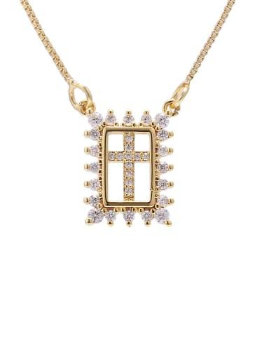 gold Brass Cubic Zirconia Geometric Ethnic Necklace