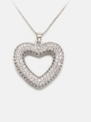 Necklace platinum white zirconium Brass Cubic Zirconia Minimalist Heart  Earring and Necklace Set