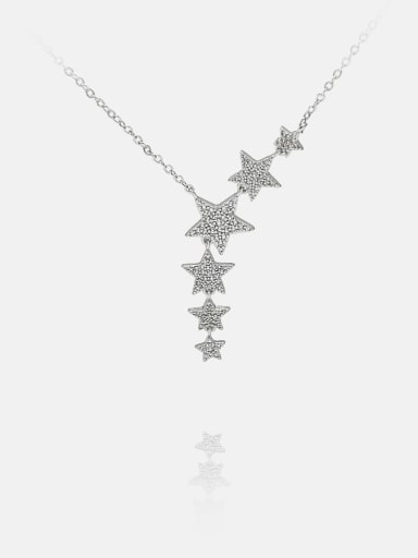 platinum Brass Cubic Zirconia Star Minimalist Lariat Necklace