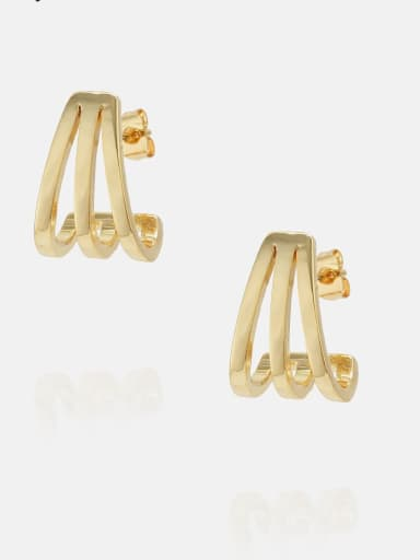 Golden Brass Geometric Minimalist Stud Earring