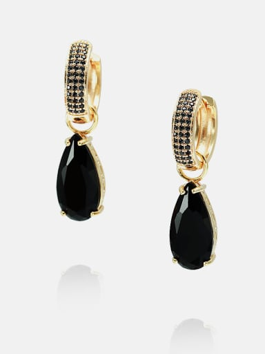 Gold Black Brass Cubic Zirconia Water Drop Ethnic Huggie Earring