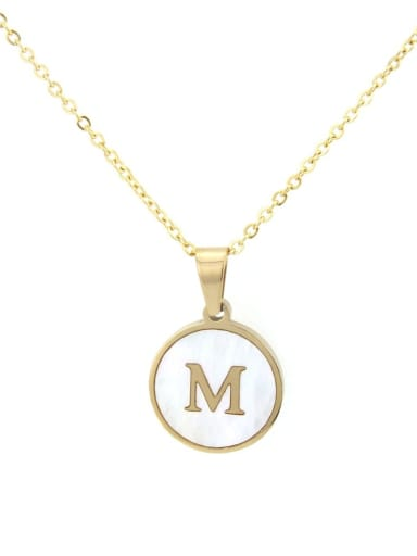 Stainless steel Shell Round Dainty Initials 18 Inch Necklace