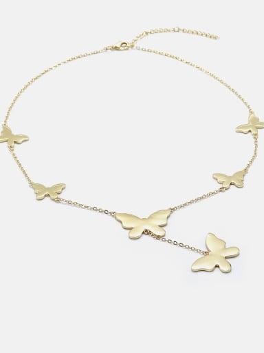 gold Brass Butterfly Minimalist Lariat Necklace