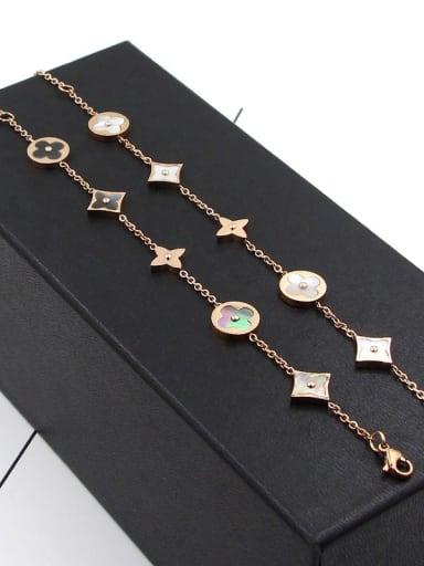 Titanium Minimalist Clover Flower Bracelet