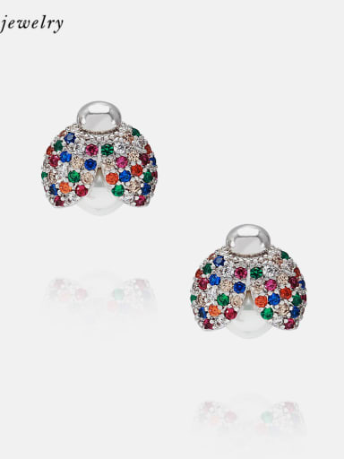 Platinum zirconium Earrings Brass Cubic Zirconia Cute Insect Earring and Necklace Set