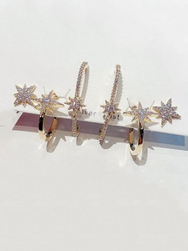 Brass Cubic Zirconia Irregular Cute Huggie Earring
