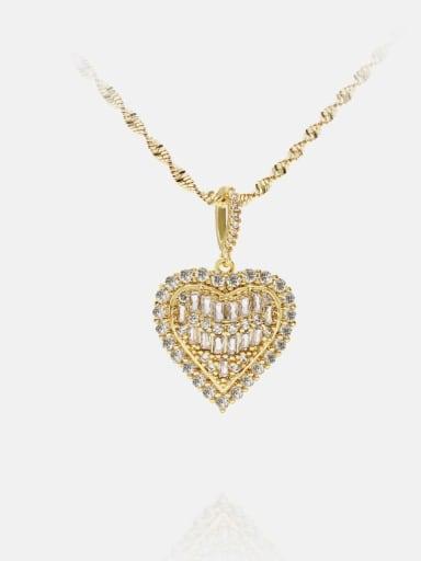 Brass Cubic Zirconia Heart Ethnic Necklace