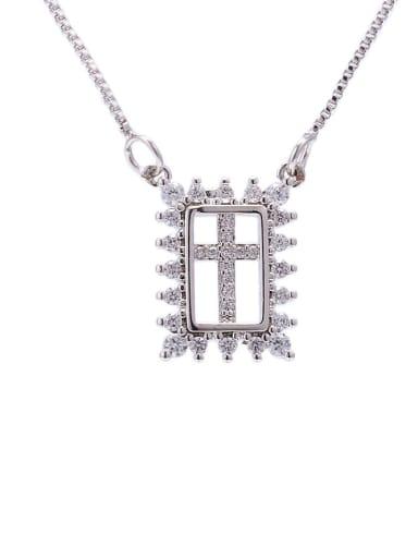platinum Brass Cubic Zirconia Geometric Ethnic Necklace