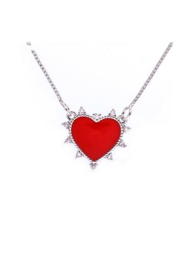 Brass Enamel Heart Minimalist Necklace