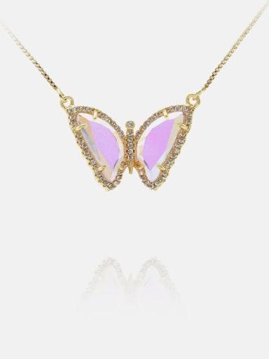 Golden pink Brass Glass Stone Butterfly Minimalist Necklace