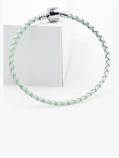 green Leather Woven 16-22cm Bracelet