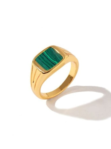 Golden green Brass Shell Geometric Minimalist Band Ring