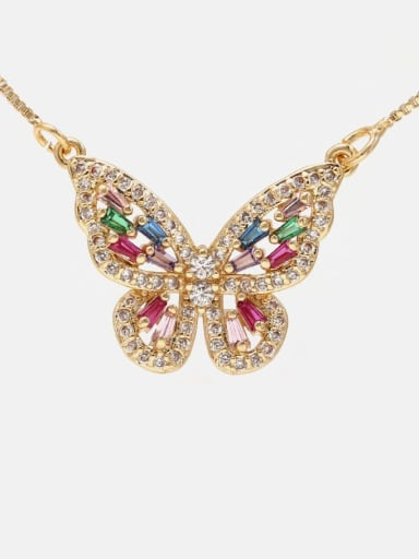 Gold mix Brass Cubic Zirconia Butterfly Dainty Necklace