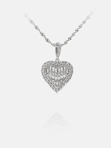 platinum Brass Cubic Zirconia Heart Ethnic Necklace