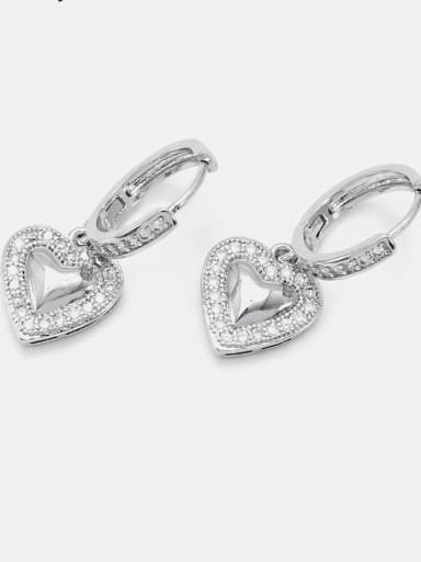 earrings  white gold and white zircon Brass Cubic Zirconia Minimalist Heart  Earring and Necklace Set