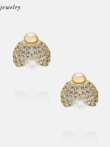 Gold color zirconium Earrings Brass Cubic Zirconia Cute Insect Earring and Necklace Set