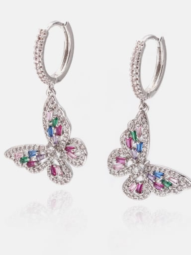 Platinum Mix Brass Cubic Zirconia Butterfly Dainty Huggie Earring