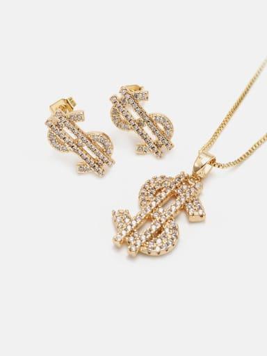 Gold white zirconium Brass Cubic Zirconia Ethnic Irregular  Earring and Necklace Set