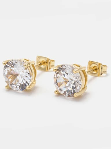 Copper Cubic Zirconia 8mm 7mm 6mm 5mm 4mm Stud Earring