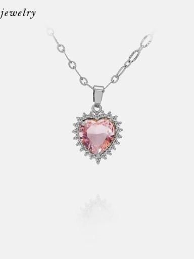 Platinum white zirconium PINK glass Brass Cubic Zirconia Minimalist Necklace