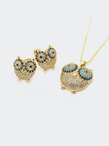 Brass Cubic Zirconia  Cute Eagle Earring and Necklace Set