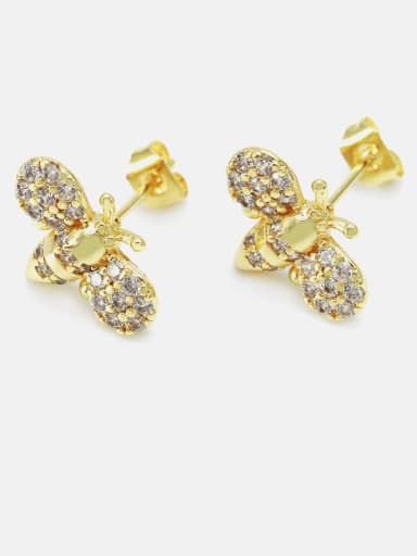 Gold white zirconium Brass Cubic Zirconia Irregular Cute Bee Stud Earring