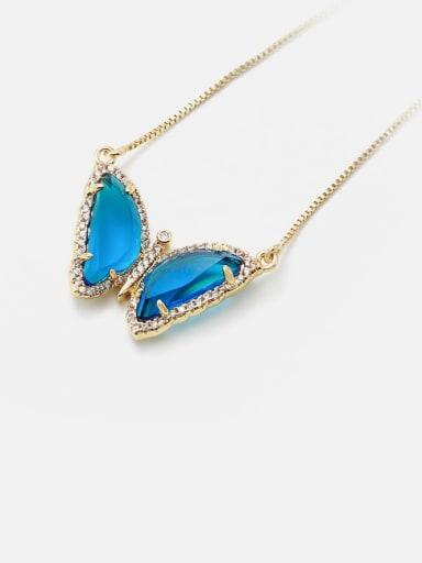 Golden Blue Brass Glass Stone Butterfly Minimalist Necklace