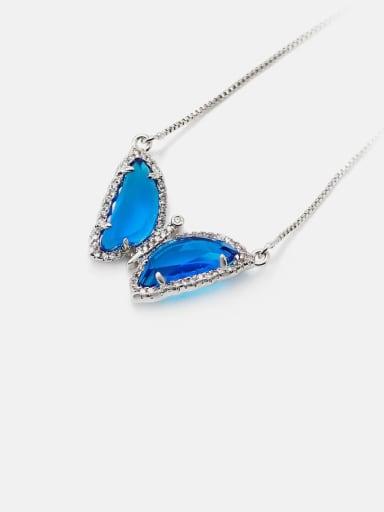 Platinum blue Brass Glass Stone Butterfly Minimalist Necklace