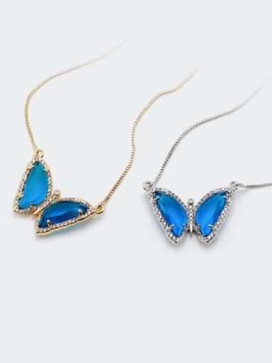 Brass Glass Stone Butterfly Minimalist Necklace
