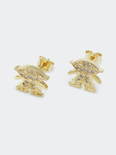 Gold zircon Brass Cubic Zirconia Irregular Cute Stud Earring