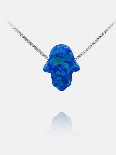Platinum blue Brass Opal Irregular Minimalist Necklace
