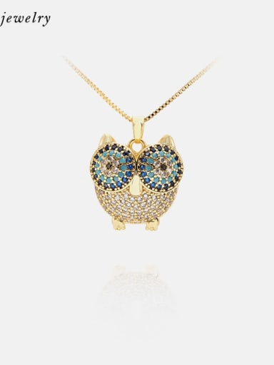 Necklace Gold White Blue Brass Cubic Zirconia  Cute Eagle Earring and Necklace Set