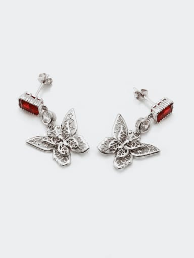 Platinum red Brass Cubic Zirconia Butterfly Vintage Drop Earring