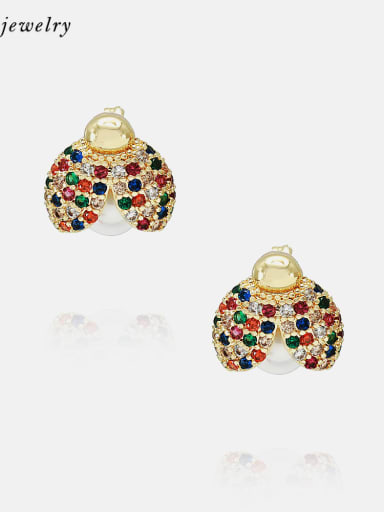 Gold white zirconium Earrings Brass Cubic Zirconia Cute Insect Earring and Necklace Set