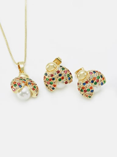 Brass Cubic Zirconia Cute Insect Earring and Necklace Set
