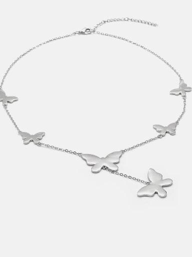 platinum Brass Butterfly Minimalist Lariat Necklace