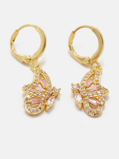 Gold powder zirconium Brass Cubic Zirconia Butterfly Cute Drop Earring