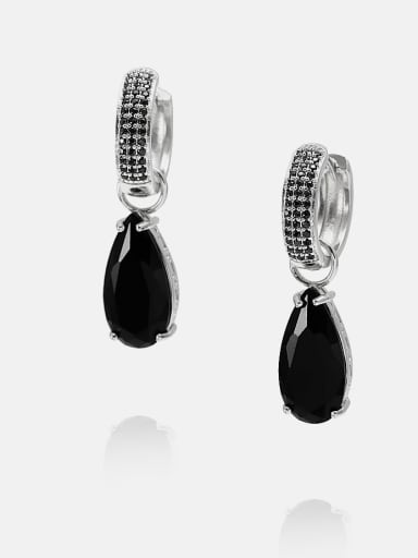 Platinum black Brass Cubic Zirconia Water Drop Ethnic Huggie Earring