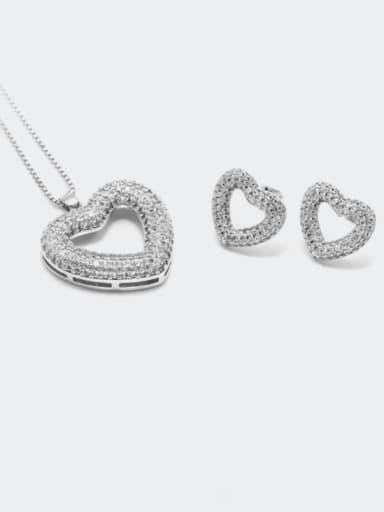 Earrings platinum white zirconium Brass Cubic Zirconia Minimalist Heart  Earring and Necklace Set