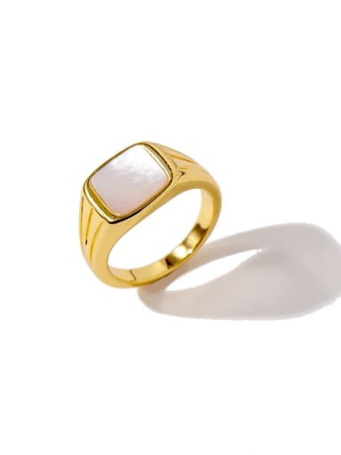 Golden white Brass Shell Geometric Minimalist Band Ring
