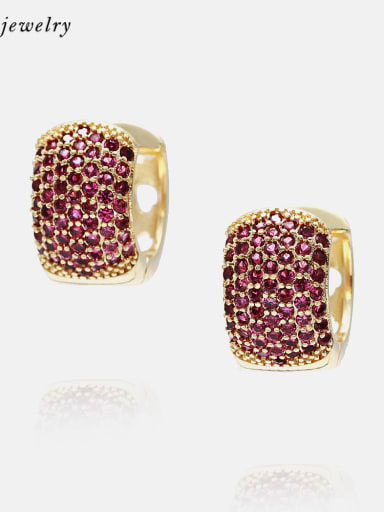 Gold red zirconium Brass Cubic Zirconia Geometric Vintage Huggie Earring