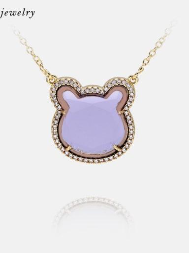 Golden purple Brass Glass Stone Cat Cute Necklace