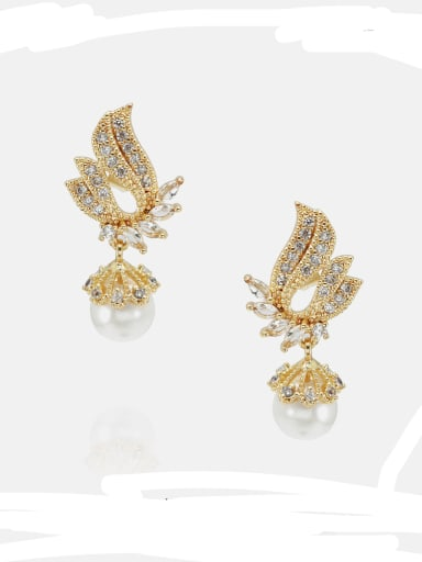 Brass Cubic Zirconia Wing Ethnic Drop Earring