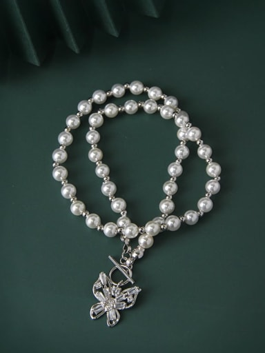 925 Sterling Silver Imitation Pearl Butterfly Luxury Necklace