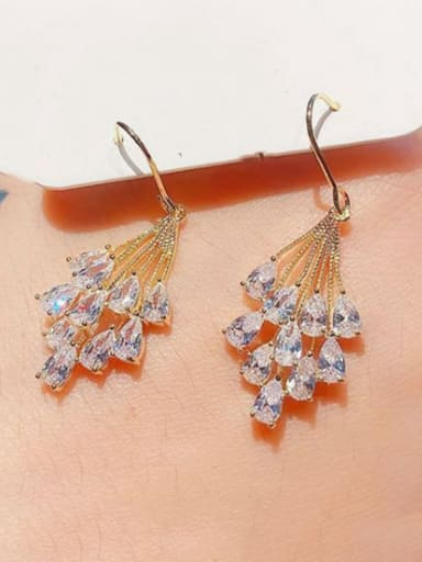 Brass Cubic Zirconia Leaf Ethnic Hook Earring