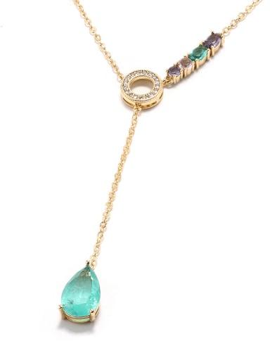 Brass Zircon Water Drop Minimalist Lariat Necklace
