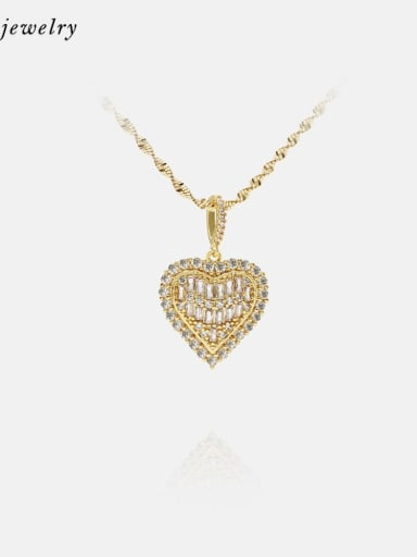 gold Brass Cubic Zirconia Heart Ethnic Necklace