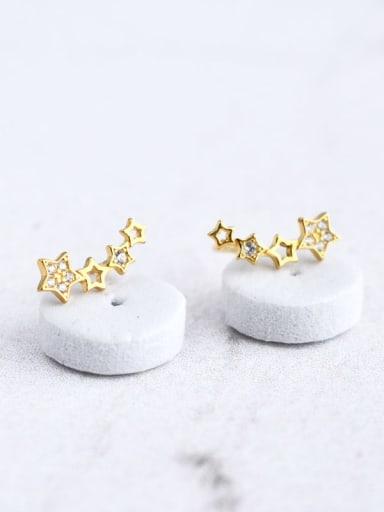 925 Sterling Silver Cubic Zirconia White Star Dainty Ear Climber Earring